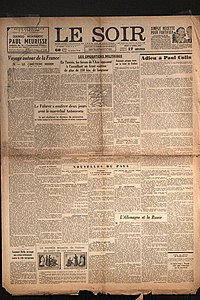 Photograph of the front page of newspaper showing signs of being many decades old