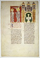 Leaf from a Beatus Manuscript- the Angel of the Church of Philadelphia with Saint John MET MED144.jpg