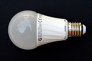 LED lamp - A 230-volt LED light bulb, with an E27 base (10 watts, 806 lumens).