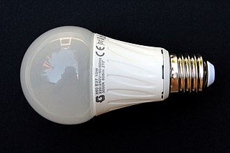 Climate change mitigation - A 230-volt LED light bulb, with an E27 base (10 watts, 806 lumens).