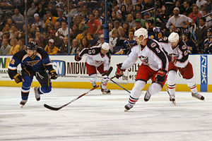 History of the National Hockey League (1992–present) - The Columbus Blue Jackets face the St. Louis Blues in 2008.