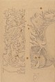 Left Part of the Drawing- Floral Ornaments; Right Part of the Drawing- Half Cartouche Decorated with Leaves, Arms and a Lion MET 57.581.54.jpg