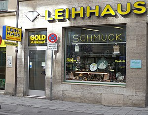 Pawnbroker - A pawnshop business in Germany in 2014.
