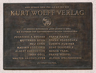 Max Brod - Memorial Plaque in Leipzig. Kurt Wolff and his authors