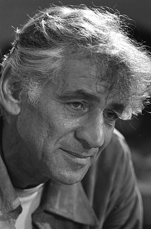 English: Leonard Bernstein in rehearsal of his...