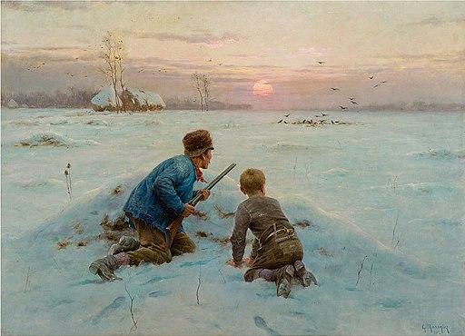 Les ennemis de la récolte (Farmer and son bird hunting in a winterly landscape)