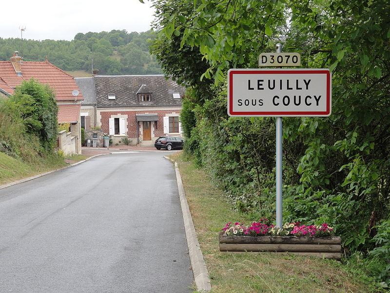 Leuilly-sous-Coucy (Aisne) city limit sign