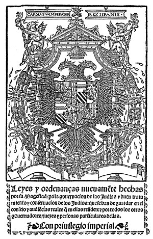"New Laws - Cover of ""Leyes Nuevas"" of 1542."