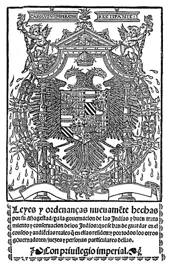 """New Laws - Cover of """"Leyes Nuevas"""" of 1542."""