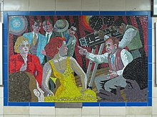A mosaic displayed of Hitchcock as a film director at Leytonstone tube station