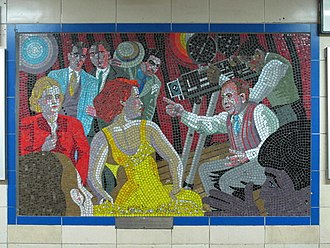 Alfred Hitchcock -  Hitchcock The Director mosaic at Leytonstone tube station. A series of mosaics of Hitchcock's life and works are located in the tube station which were commissioned by the London Borough of Waltham Forest
