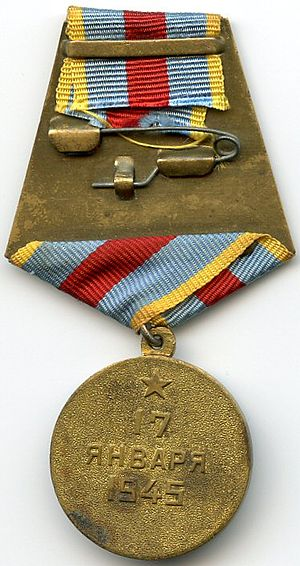 "Medal ""For the Liberation of Warsaw"" - Reverse of the Medal ""For the Liberation of Warsaw"""