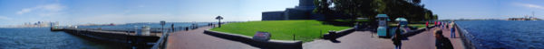 Panorama from Liberty Island, with views of Manhattan and Jersey City.