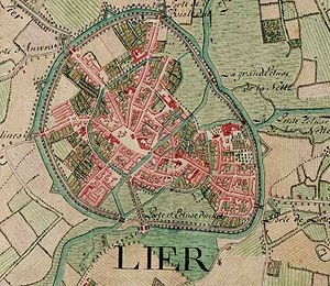 Lier, Belgium - Lier on the Ferraris map (around 1775)