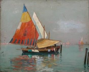 English: Sailing Boats, oil painting by Lionel...