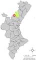 Localització de Vilanova de la Reina respecte del País Valencià.png