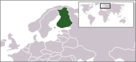 A map showing the location of Finland