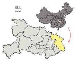 湖北省中の黄岡市の位置