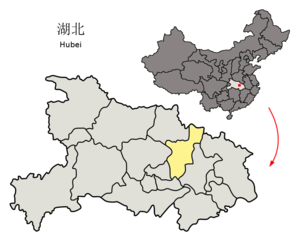 Xiaogan - Image: Location of Xiaogan Prefecture within Hubei (China)