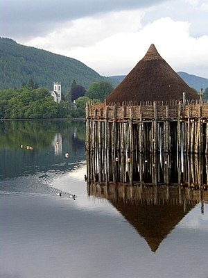 Roundhouse (dwelling) - Reconstructed crannog on Loch Tay, Scotland