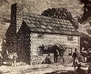 History of the University of Pittsburgh - An illustration depicting an artist's rendition of first building, a log cabin, of the Pittsburgh Academy.