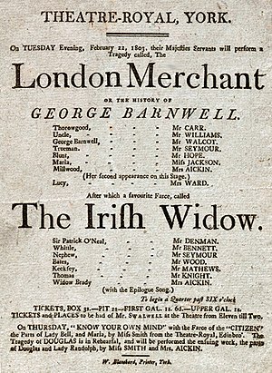 The London Merchant - Playbill for an 1803 production of The London Merchant