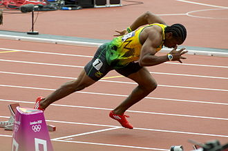 Athletics at the 2012 Summer Olympics – Men's 200 metres - Yohan Blake starts his heat