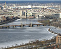The Longfellow Bridge crossing over the Charles River, in the winter