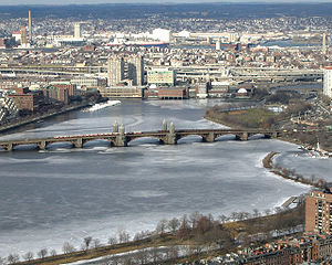 Charles River - The Longfellow Bridge crossing over the Charles River, connecting Boston and Cambridge, in winter