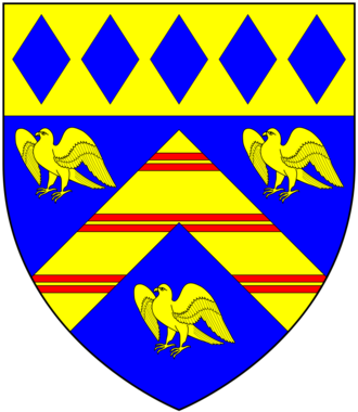 Ralph Lopes - Arms of Lopes: Azure, a chevron or charged with three bars gemelles gules between three eagles rising of the second on a chief of the second five lozenges of the first