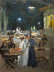 Kawiarnia paryska w nocy