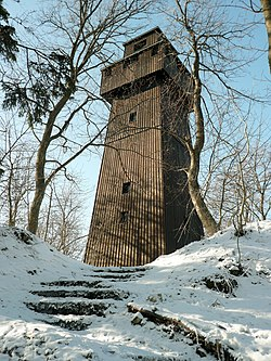 Wooden tower on mountain Lupfen