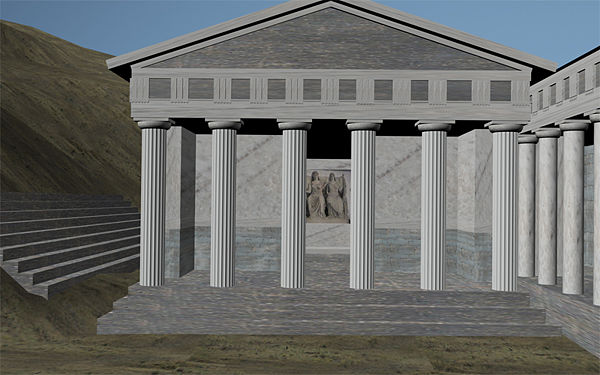 Perspective Reconstruction of the Temple of Despoina:  The acrolithic statues of Demeter (L) and Despoina (R) are visible at scale in the cella -   at left is the theater-like seating area, and at right is the Stoa