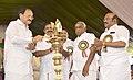 M. Venkaiah Naidu lighting the lamp at the inaugural ceremony of the Chennai Metro Rail from Thirumangalam to Nehru Park, at Thirumangalam Metro Station, Chennai.jpg