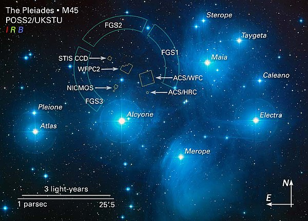 Pleiades Wikipedia - Astronomical map of galaxies in the us