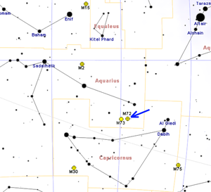 Messier 72 - Map showing location of M72