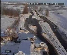Datei:MLRS attack on K2 blockpost near Volnovakha (CCTV).webm