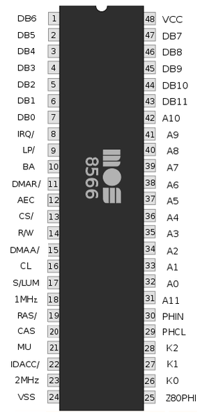 MOS Technology VIC-II - MOS 8566 VIC-IIe pinout