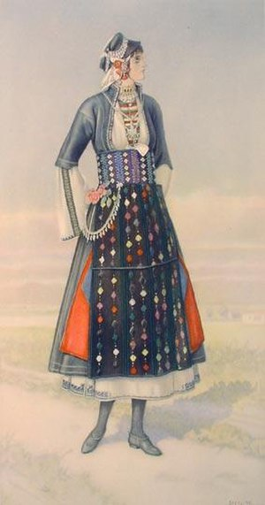 Roumlouki - Traditional dress of a woman from the Roumlouki area, by Nicolas Sperling