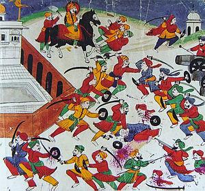 Sri Muktsar Sahib - An artist's expression of the Battle of Muktsar, 1705