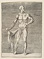 Man seen from the Front, holding the Skin of his right Arm and Leg in his right Hand MET DP812687.jpg