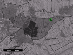 The village centre (dark green) and the statistical district (light green) of Waarder in the municipality of Reeuwijk.