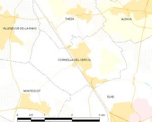 Corneilla-del-Vercol - Map of Corneilla-del-Vercol and its surrounding communes