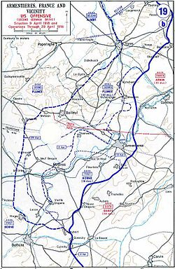 Map of German Lys offensive 1918