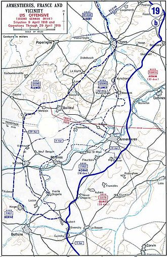 Battle of the Lys (1918) - Map of German Lys offensive, 1918