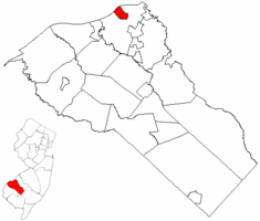 National Park highlighted in Gloucester County. Inset map: Gloucester County highlighted in the State of New Jersey.