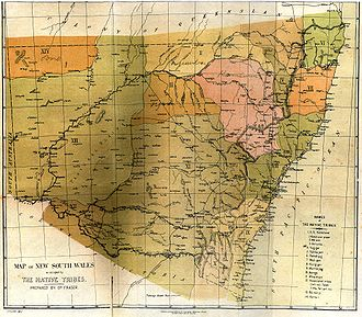 History of New South Wales - Aboriginal tribes in New South Wales, from an 1892 map