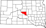 State map highlighting Hughes County