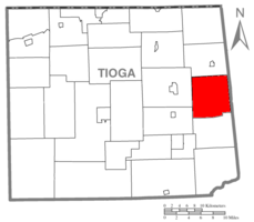 Map of Tioga County Highlighting Sullivan Township