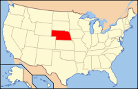 Map of the USA highlighting Nebraska